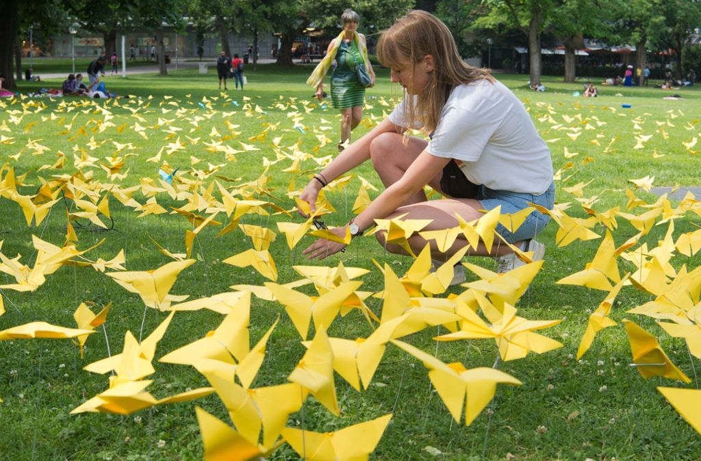 Der Schlossgarten wurde von den handgemachten Zitronenfaltern eingenommen. Foto: Lichtgut-Oliver Willikonsky