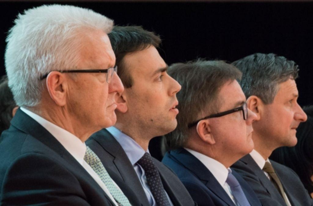 Wer wird nach der Landtagswahl am 13. März  als Ministerpräsident Baden-Württemberg regieren? Die Spitzenkandidaten Winfried Kretschmann, Nils Schmid, Guido Wolf und Hans-Ulrich Rülke (v.l.n.r.) haben den Wahlkampf längst eröffnet. Foto: dpa