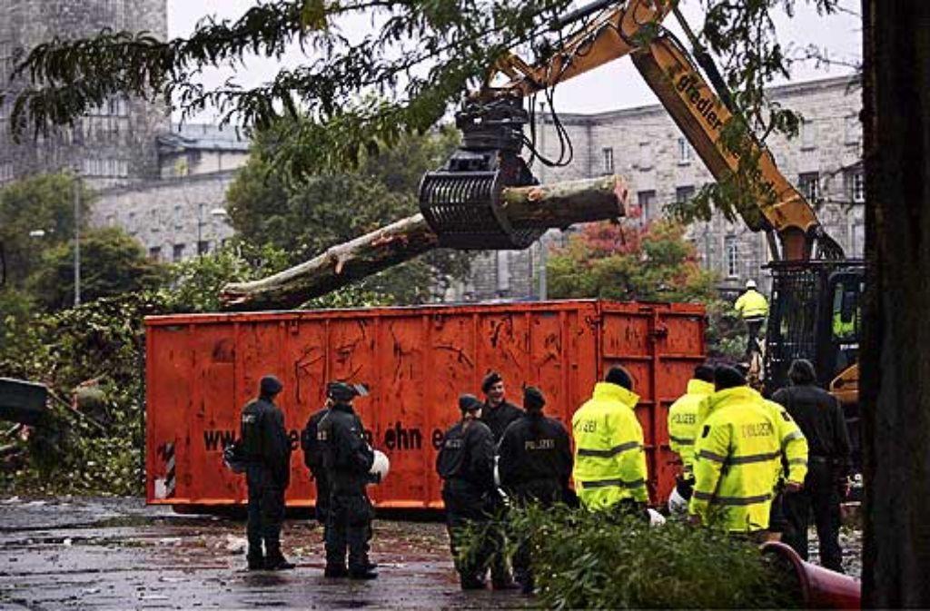 Die Abholzaktion im Schlossgarten wird wohl ein Nachspiel haben. Foto: Michael Steinert