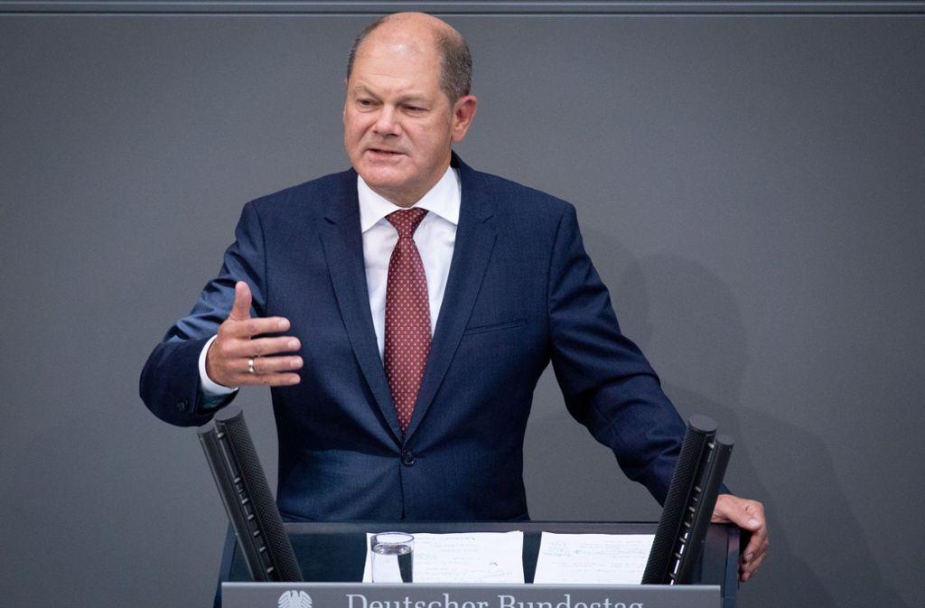 Finanzminister Scholz eröffnet die Haushaltsdebatte im Bundestag. Foto: dpa
