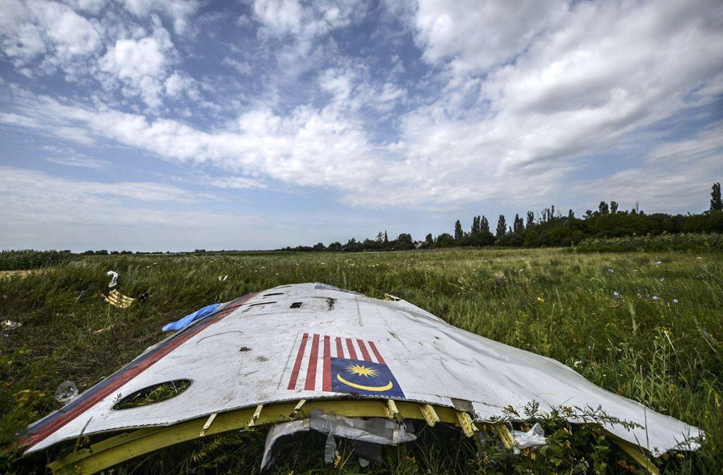 Ein Wrackteil der 2014 abgeschossenen Maschine. Foto: AFP