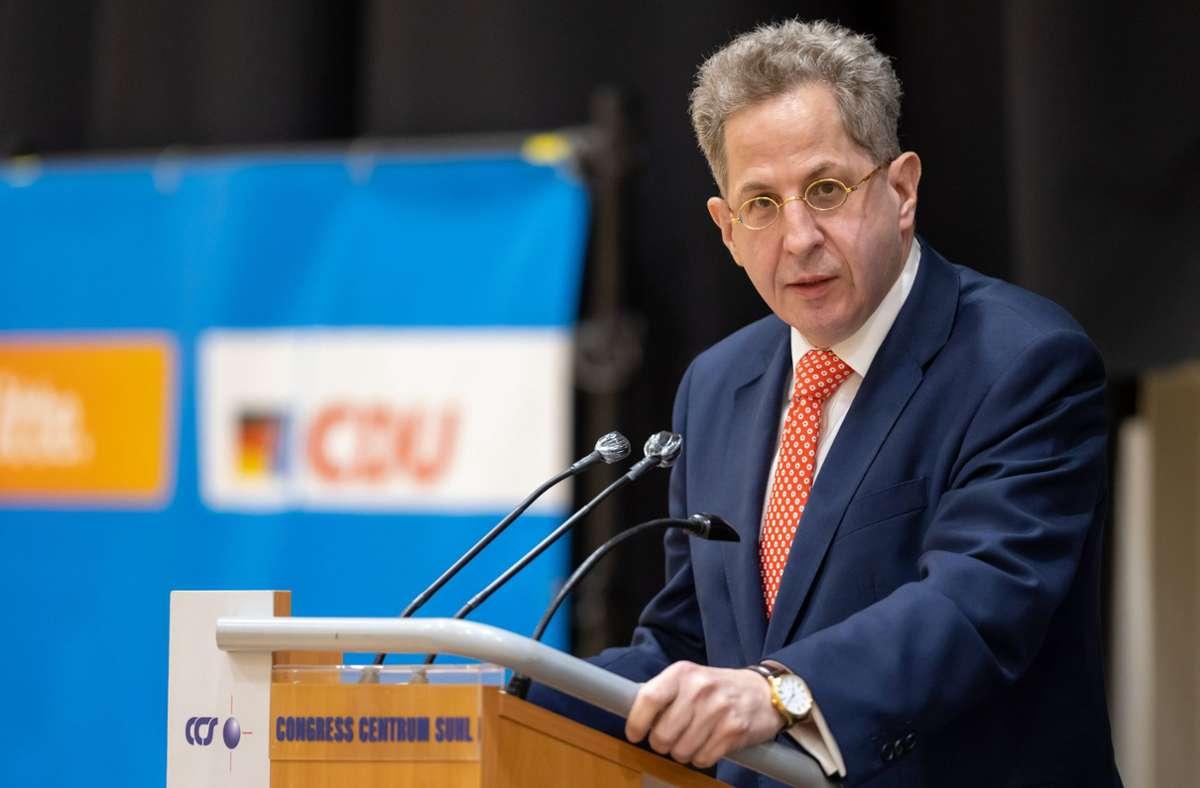 Hans-Georg Maaßen wurde am Freitag von vier CDU-Kreisverbänden als Direktkandidat für den Bundestag in Südthüringen nominiert. (Archivbild) Foto: dpa/Michael Reichel