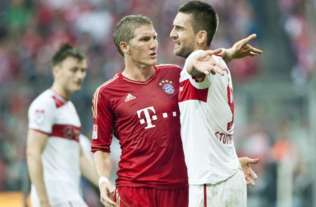 Hitzige Duelle lieferte sich Bastian Schweinsteiger mit dem VfB Stuttgart. Hier gerät er mit Stürmer Vedad Ibisevic aneinander. Foto: dpa/Victoria Bonn-Meuser
