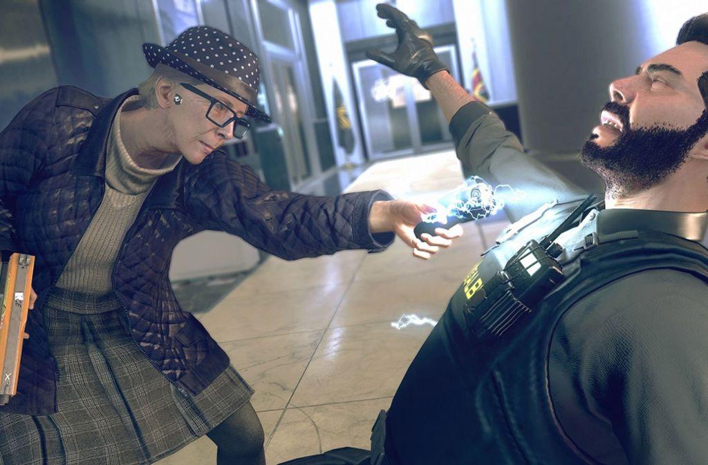 Der Widerstand gegen den Überwachungsstaat kennt in Watch Dogs Legion keine Altersgrenze: diese ältere Dame kennt keinen Spaß beim Kampf gegen die Sicherheitskräfte. Foto: Ubisoft