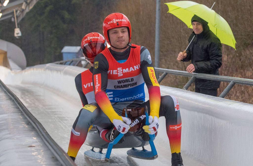 Toni Eggert und Sascha Benecken sicherten sich WM-Gold im Doppelsitzer. Foto: imago images/Gerhard König