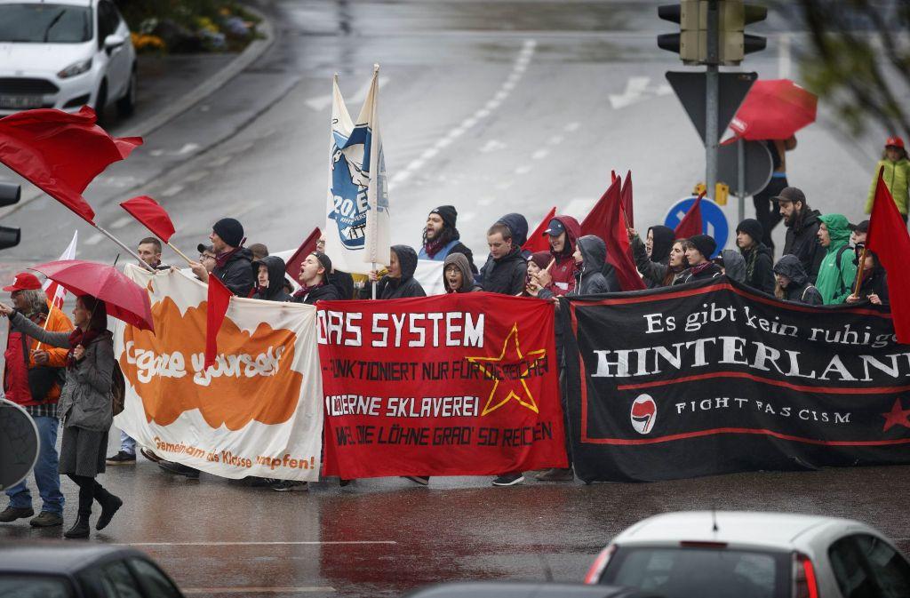 Der Demonstrationszug auf dem Weg in Richtung Marktplatz Foto: Gottfried Stoppel