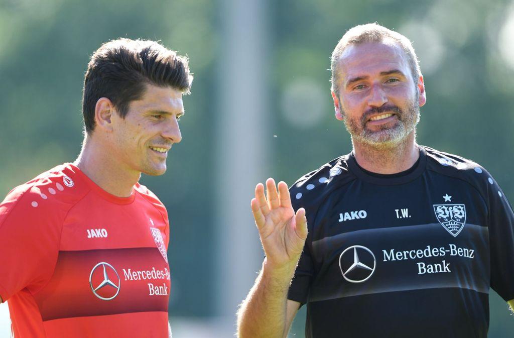 Der Stürmer und sein Coach: Mario Gomez und Tim Walter. Foto: picture alliance/dpa/Maximilian Haupt
