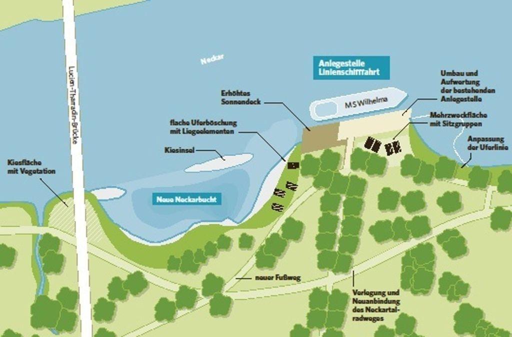 Die Anlegestelle wird deutlich aufgehübscht, danach soll daneben eine neue Bucht im Neckar angelegt werden. Foto: Stadt Ludwigsburg
