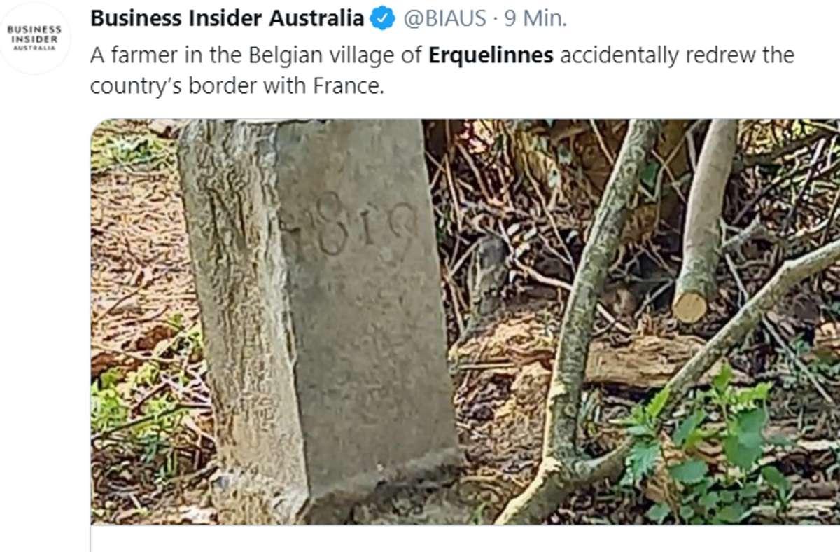 Das kleine Dorf Erquelinnes ist nun irgendwie weltberühmt. Die Geschichte vom versetzten Grenzstein in Belgien schafft es sogar bis nach Australien. Foto: Screenshot/Twitter