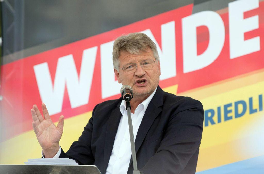 """Der AfD-Politiker sprach von einem """"Dunkeldeutschland der Merkelisten"""" und von """"Öko-Sozialisten"""". Foto: Jörg Carstensen/dpa/Jörg Carstensen"""