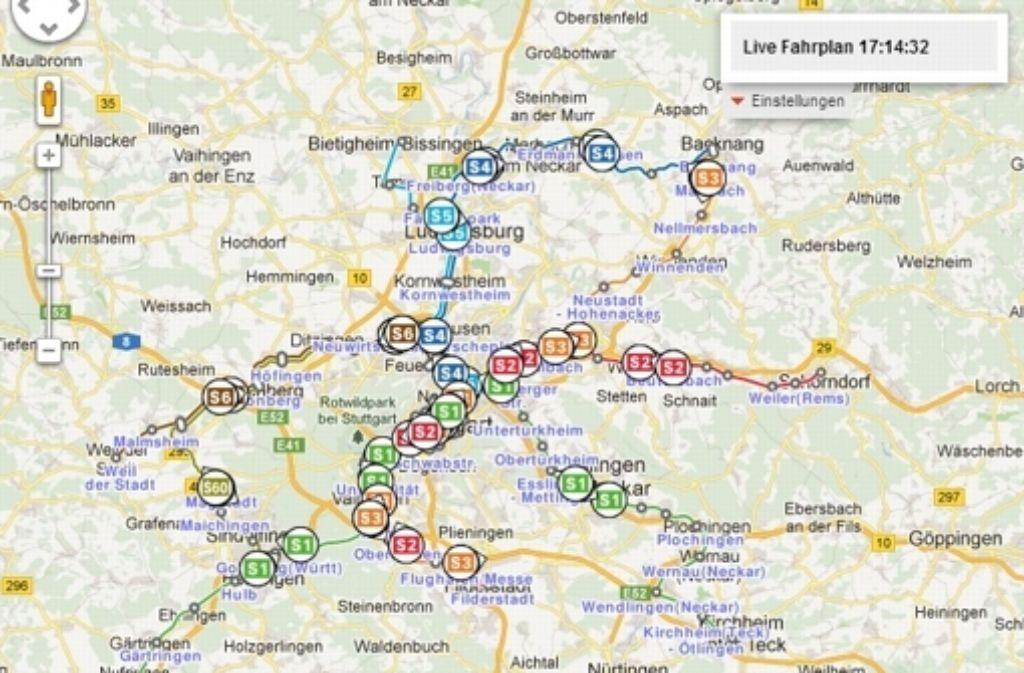 """Die """"Livemap"""" zeigt an, wo sich die einzelnen Züge angeblich gerade befinden. Doch die Lageinformation ist nicht live, sondern hochgerechnet. Foto: StZ / Screenshot"""