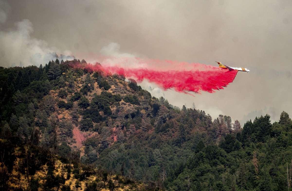 Ein Tankflugzeug wirft in Kalifornien Löschmittel ab. Foto: dpa/Noah Berger