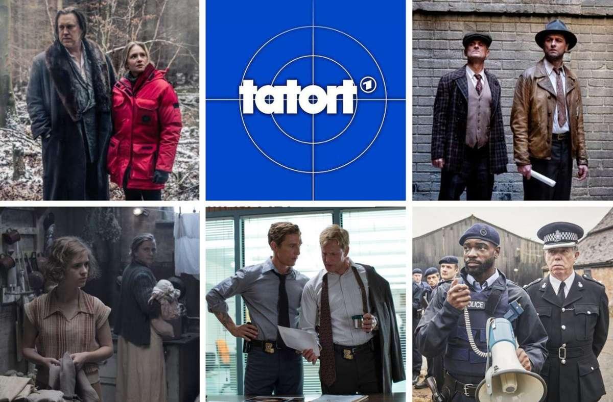"""Alles Krimi oder was? Das Böse fasziniert in Büchern, Podcasts oder Filmen – und in Fernsehen zum Beispiel in """"Der Pass"""", """"Tatort"""",  """"Perry Mason"""", """"White House Farm Murders"""", """"True Detective"""" oder """"Babylon Berlin"""" (von links oben im Uhrzeigersinn).Foto:Sky (2), HBO (2), ARD, Starz Foto:"""