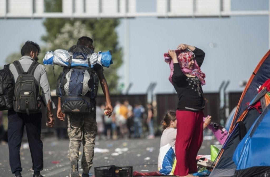 Flüchtlinge harren an der Grenze zu Ungarn aus. Foto: dpa/MTI