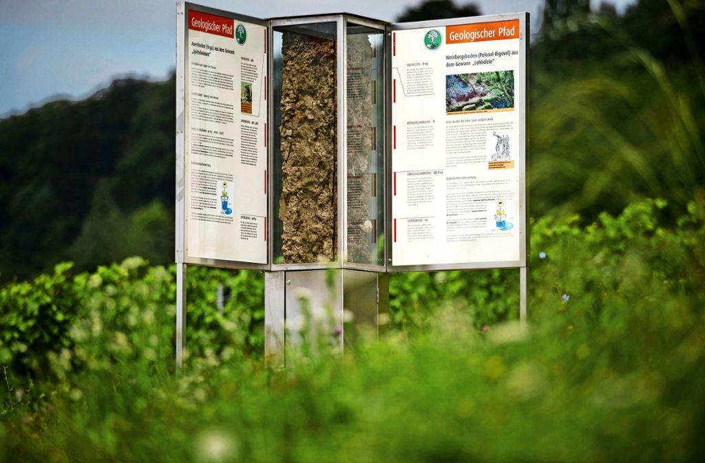 Die gläserne Stele an dem geologischen Pfad in Remshalden ist mit zwei verschiedenen Böden gefüllt. Foto: