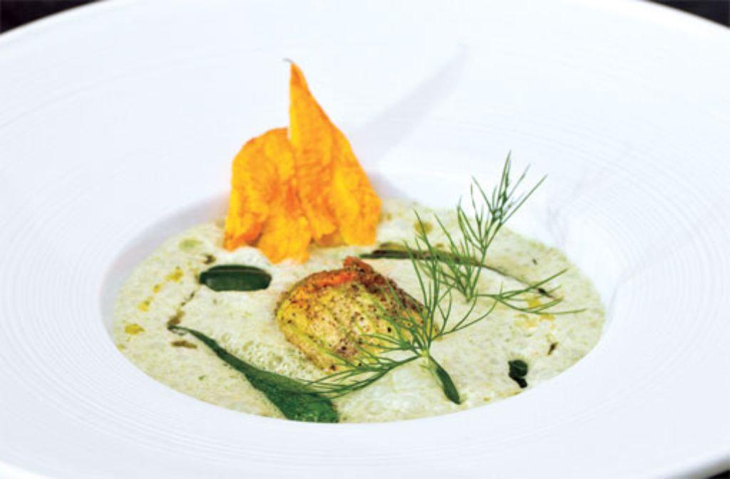 Joghurt-Gurken-Kaltschale und Zucchiniblütegefüllt mit Lammbolognese Foto: Verlagsedition netzwerk