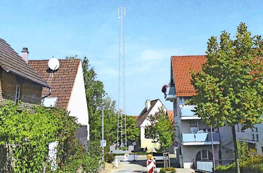 Der Mast soll so aussehen wie in dieser Bildmontage. Foto: Gemeinde Hemmingen