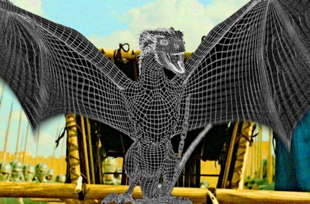 """Gittergeflügel: ein Drache aus der Serie """"Game of Thrones"""" entsteht. Foto: Pixomondo"""