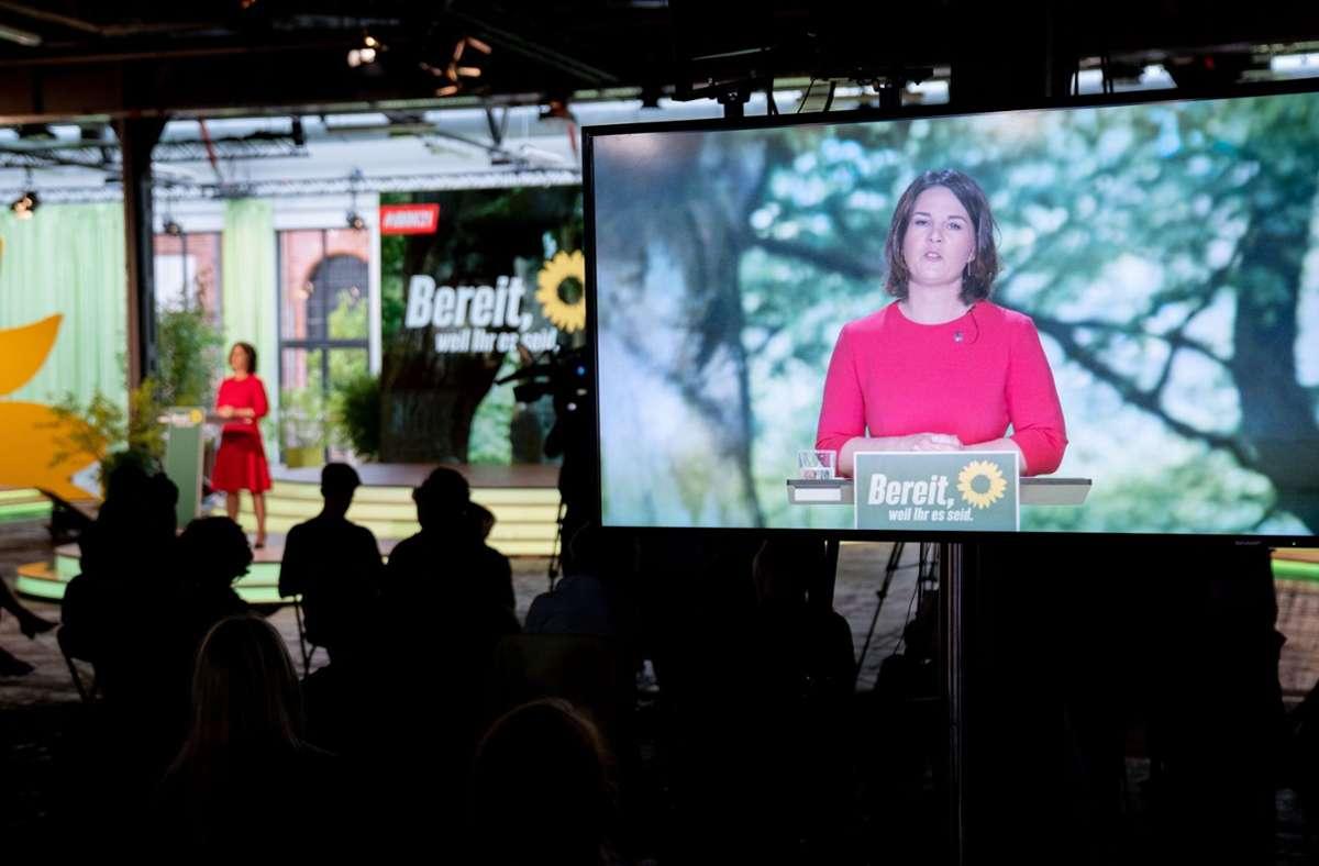 Annalena Baerbock bei ihrer Rede auf dem Grünen-Parteitag. Foto: dpa/Kay Nietfeld