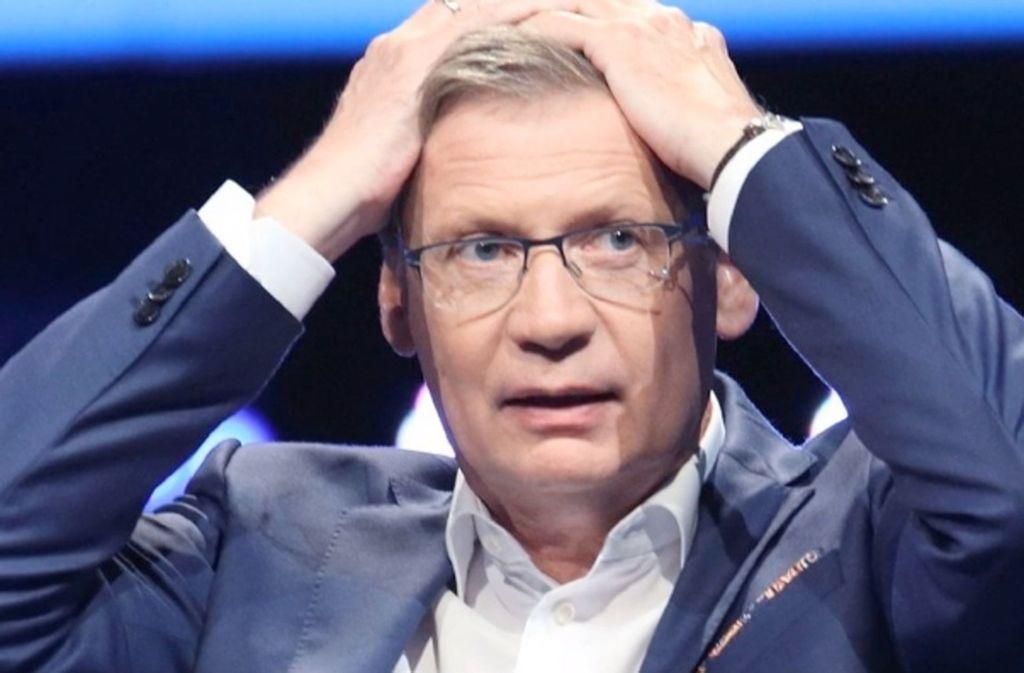 """Manchmal verzweifelt Günther Jauch an den Antworten seiner Kandidaten bei """"Wer wird Millionär?"""". Foto: MG RTL D/Gregorowius/Glomex"""