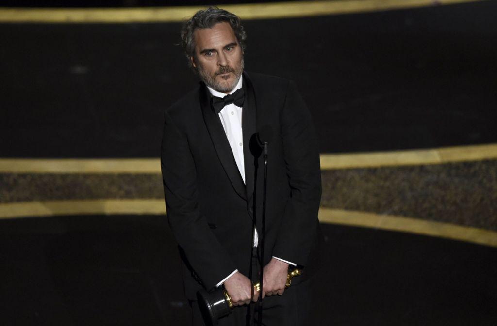 Der Oscarpreisträger Joaquin Phoenix machte sich auch in seiner Dankesrede für Tierrechte stark. Foto: dpa/Chris Pizzello