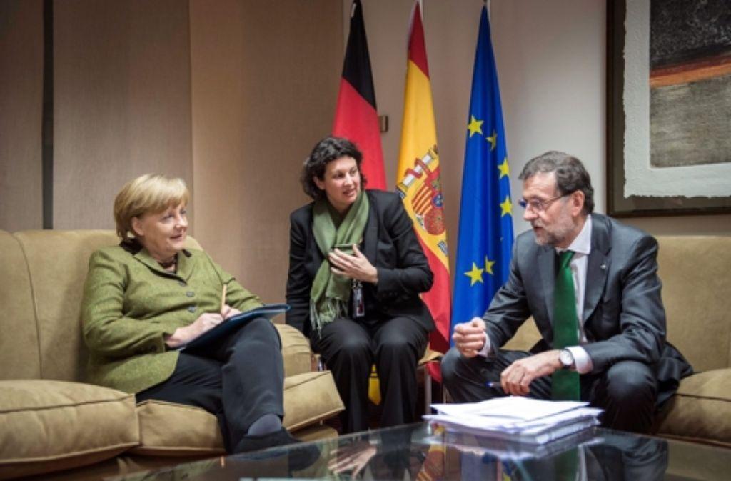 Gipfeldiplomatie: Kanzlerin Angela Merkel und Spaniens Premier Foto: dpa