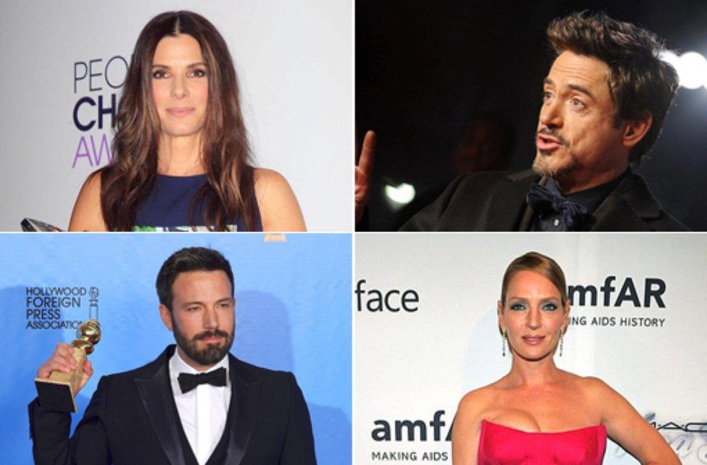 Von links oben im Uhrzeigersinn: Sandra Bullock, Robert Downey Jr., Uma Thurman, Ben Affleck. In unserer Fotostrecke zeigen wir die Hollywood-Stars, die bei den Golden Globes als Helfer fungieren - klicken Sie sich durch! Foto: dpa/SIR-Montage