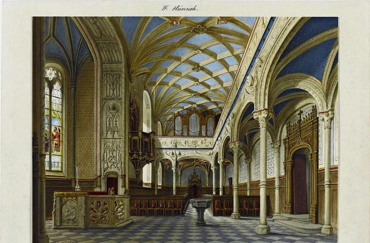 Das Aquarell von Franz Heinrich zeigt  die Kirche des Alten Schlosses um 1870 Foto: Staatsgalerie