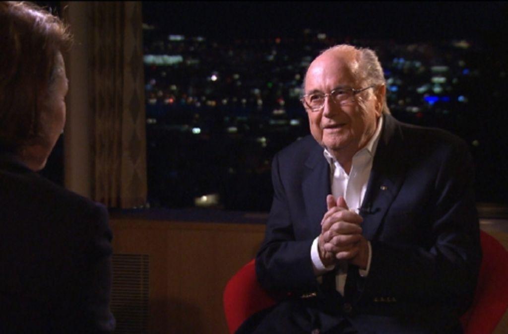 Der suspendierte Fifa-Präsident Sepp Blatter bei einem Interview im Schweizer Fernsehen. Foto: RTS RADIO TELEVISION SUISSE