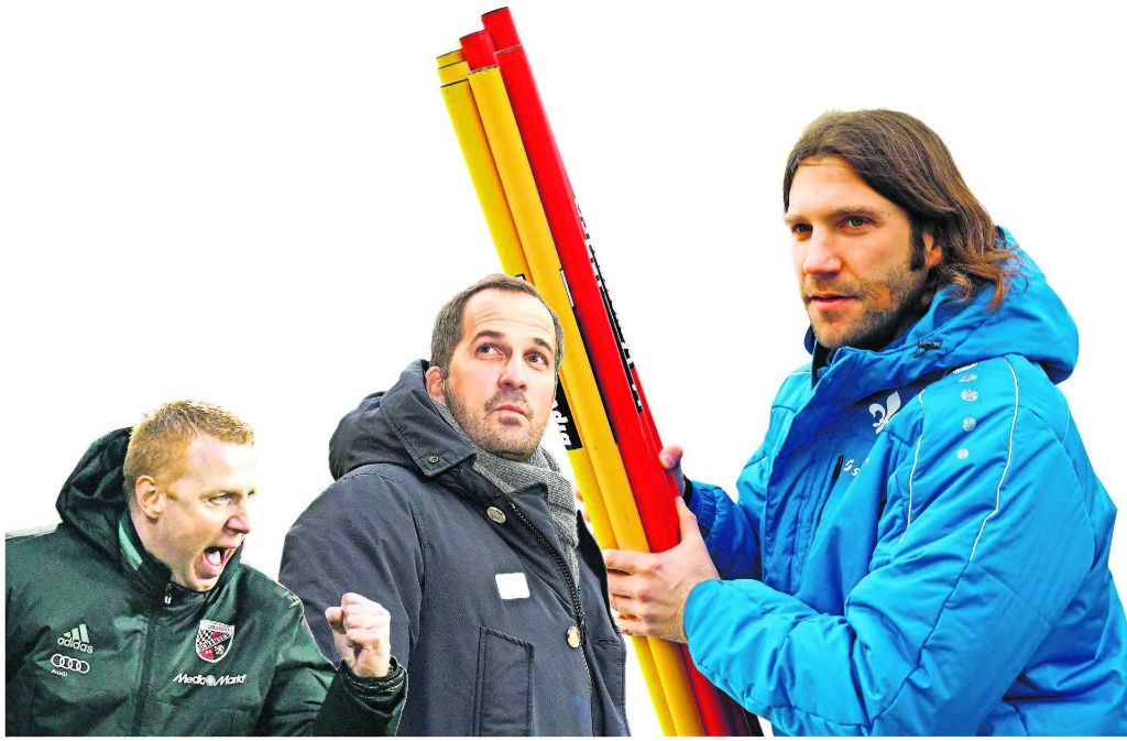 Torsten Frings (rechts) ist neu in Darmstadt, Manuel Baum (Mitte) wurde in Augsburg befördert, der FC Ingolstadt engagierte Maik Walpurgis. Foto: dpa