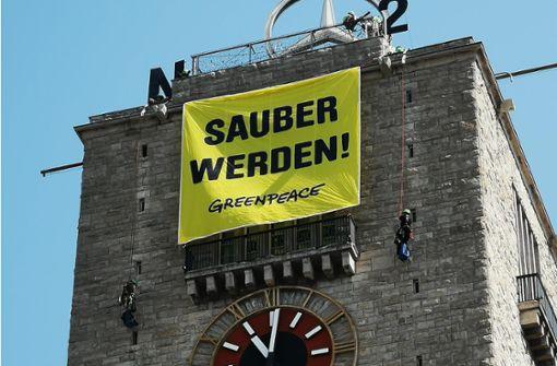 Greenpeace-Aktion am Bahnhofsturm
