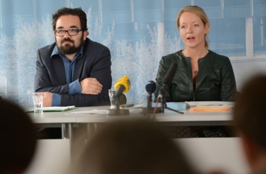 Die Wege der beiden Grünen-Landesvorsitzenden Chris Kühn und Thekla Walker trennen sich: Kühn wurde in den Bundestag gewählt, Walker bewirbt sich erneut um ihr Parteiamt. Foto: dpa