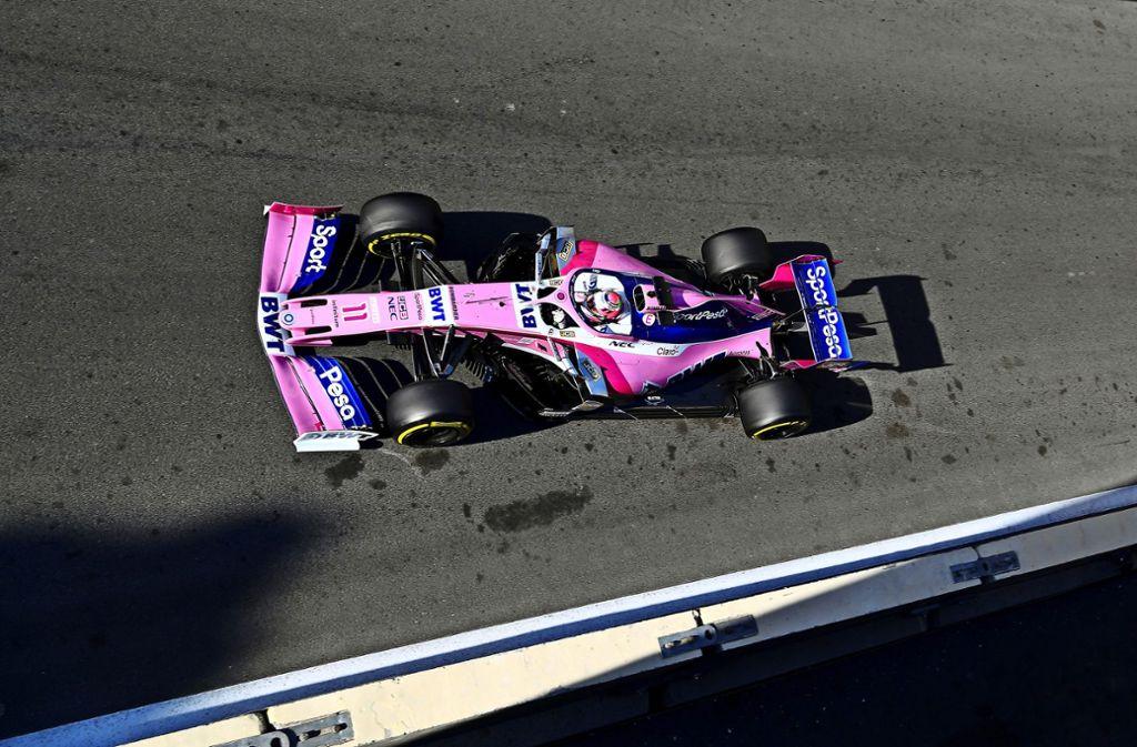 Sergio Perez vom Team Racing Point hofft am Sonntag auf Regen, das verbessert seine Chancen.Sergio Perez ist mit seiner Rolle zufrieden. Foto: Getty