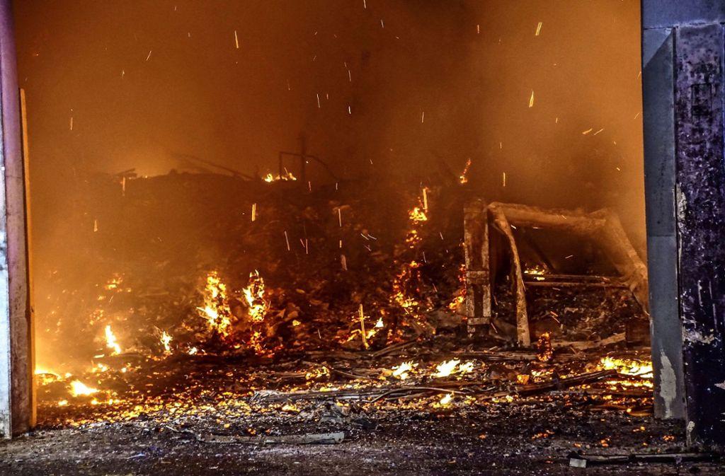Flammendes nächtliches Inferno in der Vergärungsanlage Leonberg. Mittlerweile ist die Gefahr gebannt. Foto: SDMG/Dettenmeyer