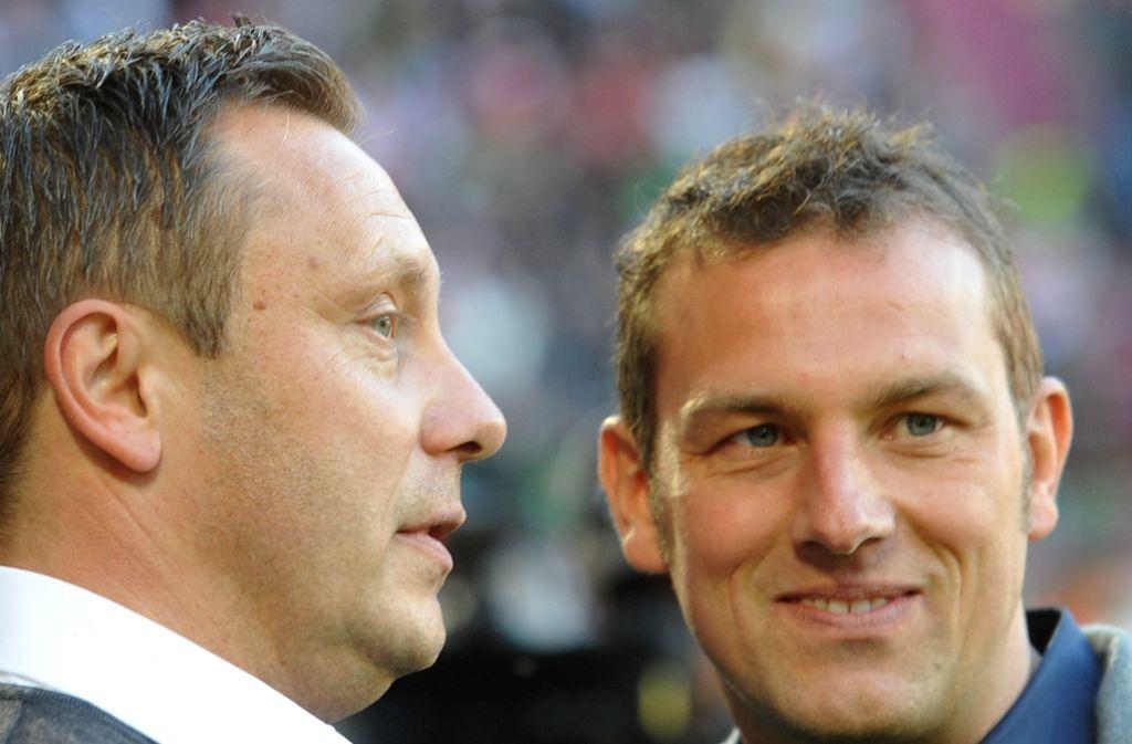 Schalkes Trainer André Breitenreiter (li.) und sein möglicher Nachfolger Markus Weinzierl Foto: dpa