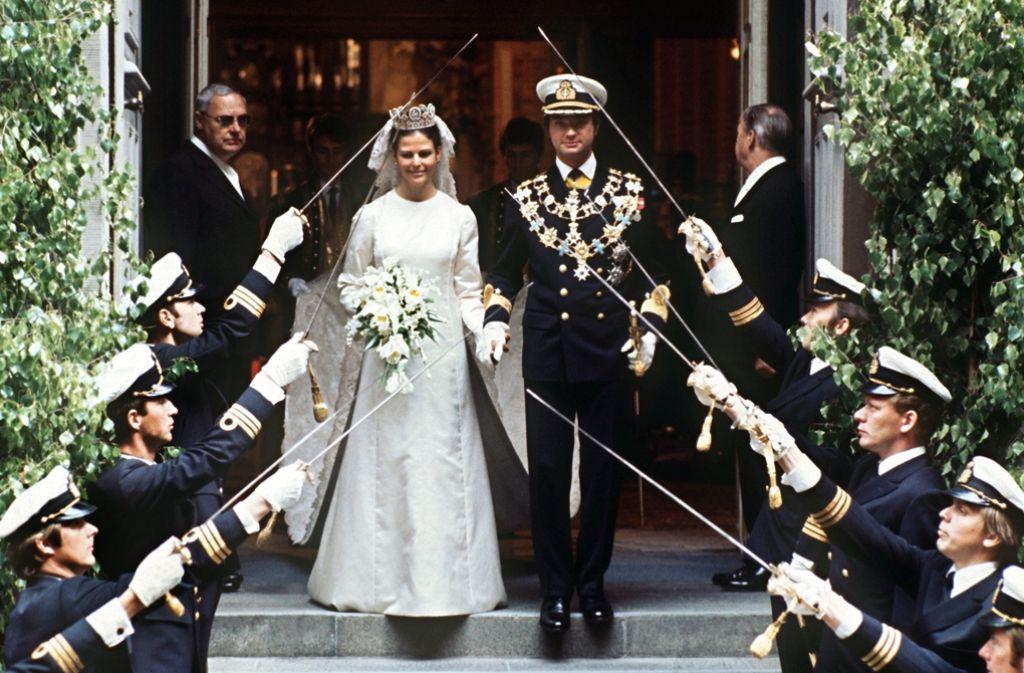 Silvia und Carl Gustaf heirateten am 19. Juni 1976 in der Stockholmer Storkyrken. Foto: dpa