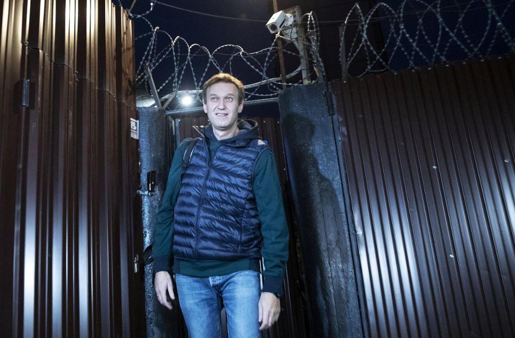 Kremlkritiker Alexej Nawalny ist nach weiteren 20 Tagen Arrest wieder auf freiem Fuß Foto: AP