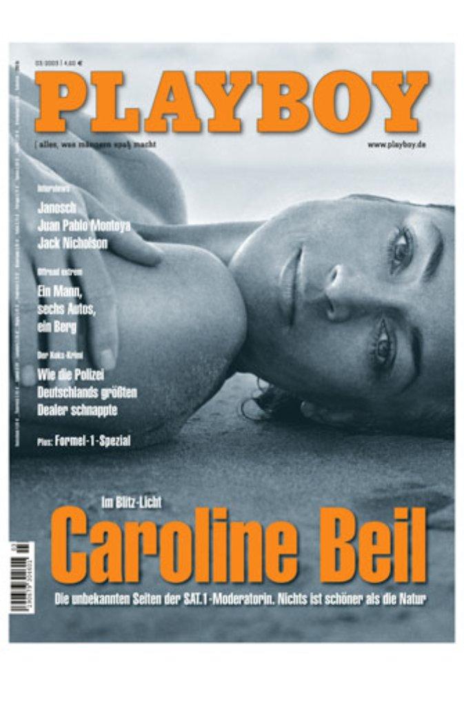 Platz 4: Moderatorin Caroline Beil nackig am Strand statt angezogen im Blitz-Studio - die März-Ausgabe 2003 wurde 363.751 Mal verkauft. Foto: Playboy Deutschland Publishing GmbH
