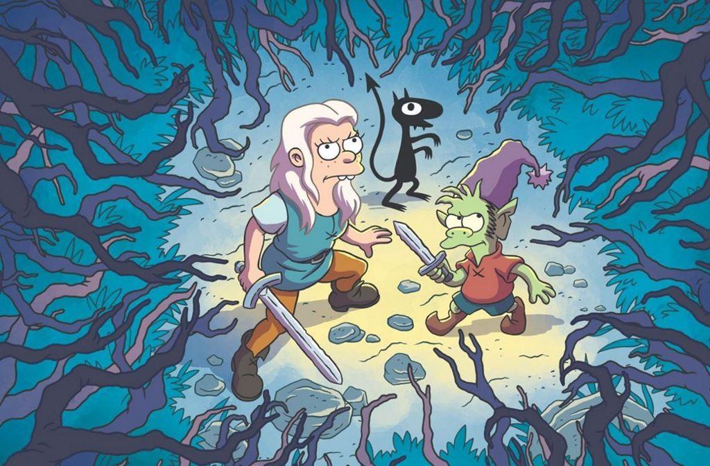 Prinzessin Bean, Elf Elfo und der Dämon Luci sind die Charaktere der Serie. Foto: Twitter/@Disenchantment