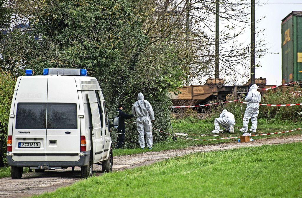 Auf einem Gartengrundstück in Asperg hat die Polizei am Donnerstag nach Spuren gesucht. Foto: SDMG