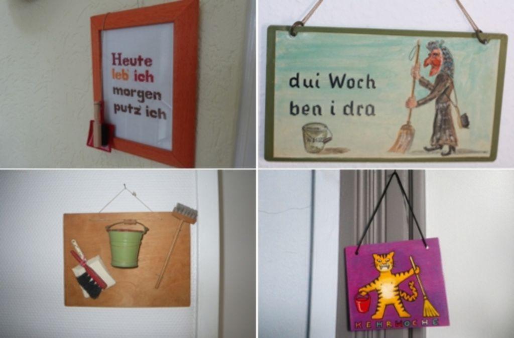 Die schwäbische Kehrwoche hat eine lange Tradition. In unserer Bildergalerie haben wird die schönsten und kreativsten Kehrwochenschilder gesammelt. Foto: Leserfotos/Montage