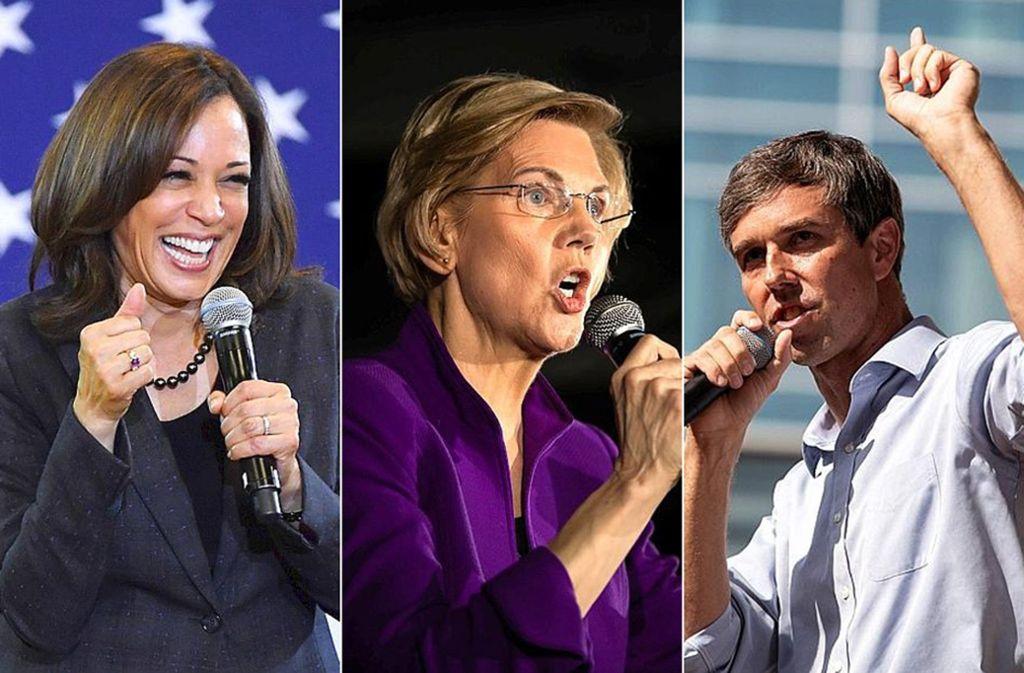 Drei von vielen Demokraten, die ins Weiße Haus wollen: Kamala Harris, Elizabeth Warren und Beto O'Rourke (von links). Foto: AFP/AP