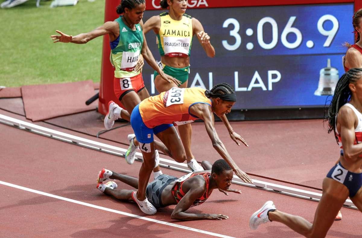 Sifan Hassan stürzte – und legte danach richtig los. Foto: imago images/Pro Shots