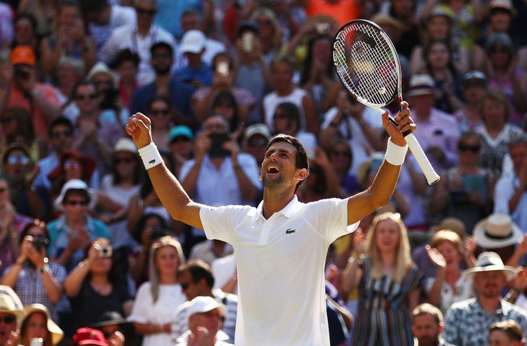 Novak Djokovic feiert seinen Wimbledon-Sieg. Foto: Getty Images Europe