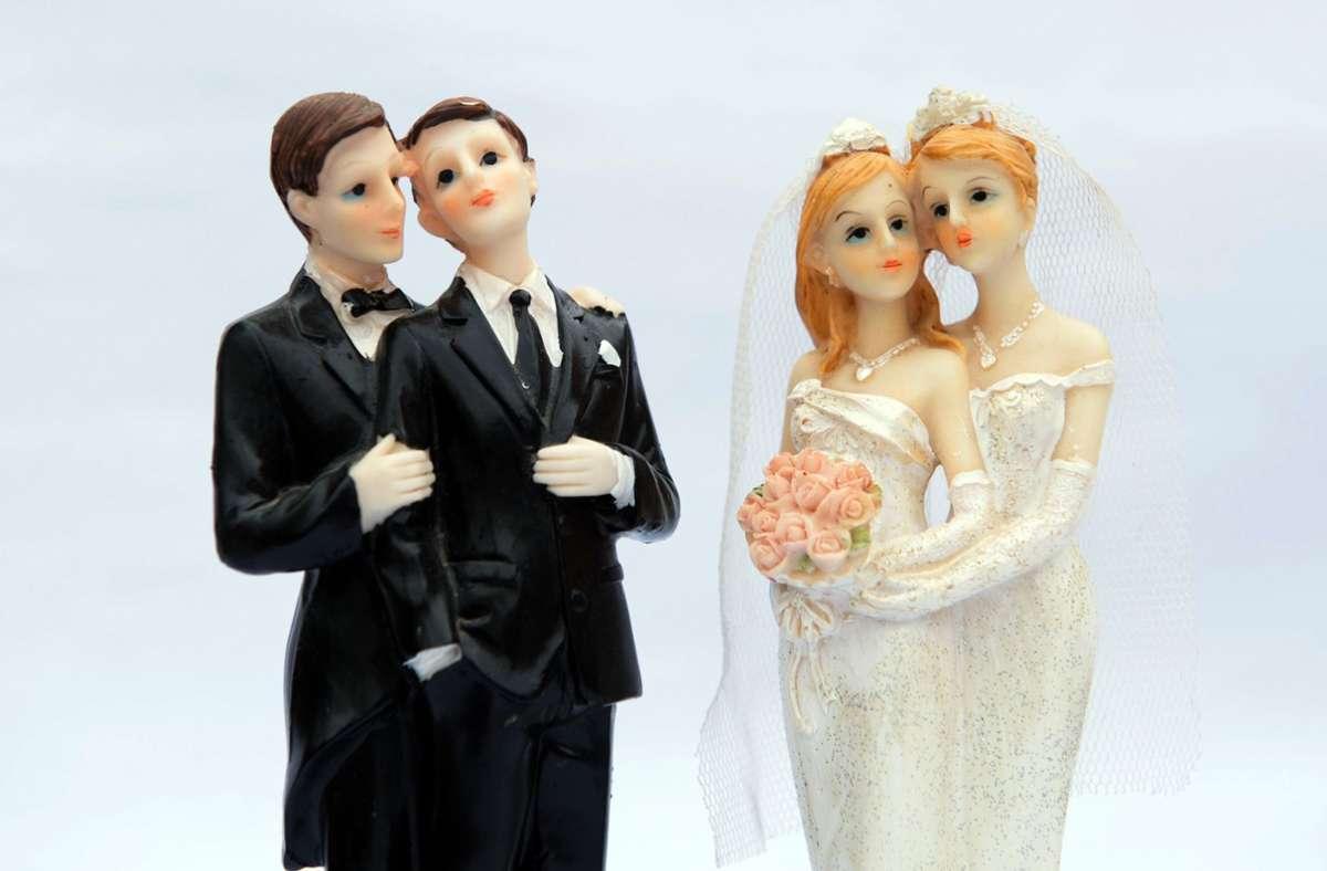 Sind zwei Männer oder zwei Frauen ein Ehepaar? Hier scheiden sich bei den Katholiken die Geister. Foto: dpa/Sebastian Kahnert