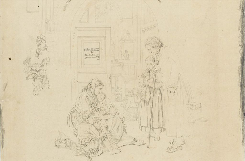 """Theodor Christoph Schüz: """"Familie vor der offenen Kirchentür, der Predigt zuhörend"""" (1858) Foto: dpa"""