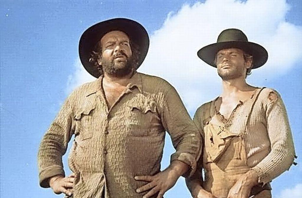 """Bud Spencer  (links) und  Terence Hill in """"Die rechte und die linke Hand des Teufels"""" Foto: dpa"""