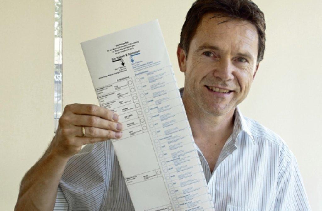Der Kreiswahlleiter Hans-Jürgen Pöss mit dem Stimmzettel. Foto: FACTUM-WEISE