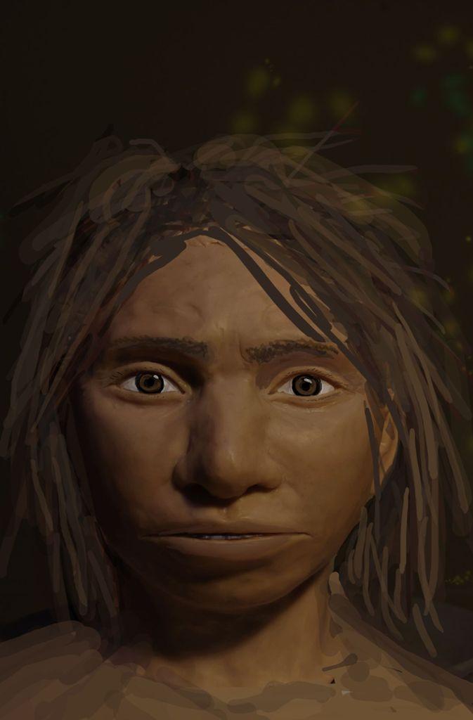 Homo Denisova: Porträt eines jugendlichen weiblichen Denisova-Urmenschen, das auf der Basis von einem Skelett-Profil und DNA-Merkmalen gemalt wurde. So könnte eine Jugendliche bei den Denisova-Urmenschen ausgesehen haben.  Foto: Maayan Harel/dpa