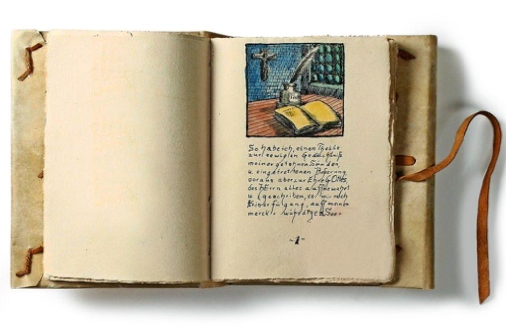 Mobil und selbst gebastelt: Peter Weiss hat eine Erzählung Hermann Hesses abgeschrieben, illustriert und zum Taschenbuch gebunden.  Foto: DLA